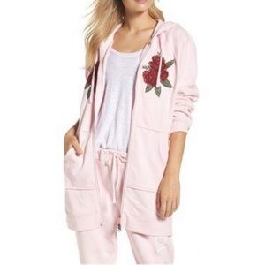 Brunette the Label Pink Rose Embroidery Sweater